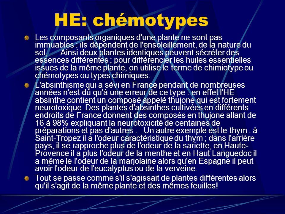 HE: chémotypes Les composants organiques d une plante ne sont pas immuables : ils dépendent de l ensoleillement, de la nature du sol,...