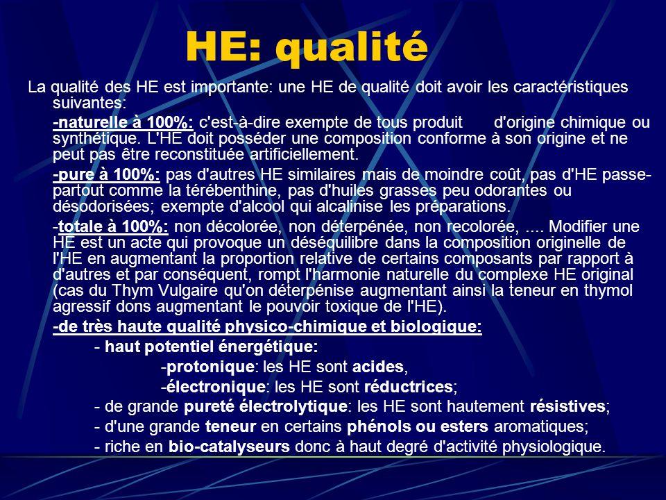 HE: qualité La qualité des HE est importante: une HE de qualité doit avoir les caractéristiques suivantes: -naturelle à 100%: c est-à-dire exempte de tous produit d origine chimique ou synthétique.