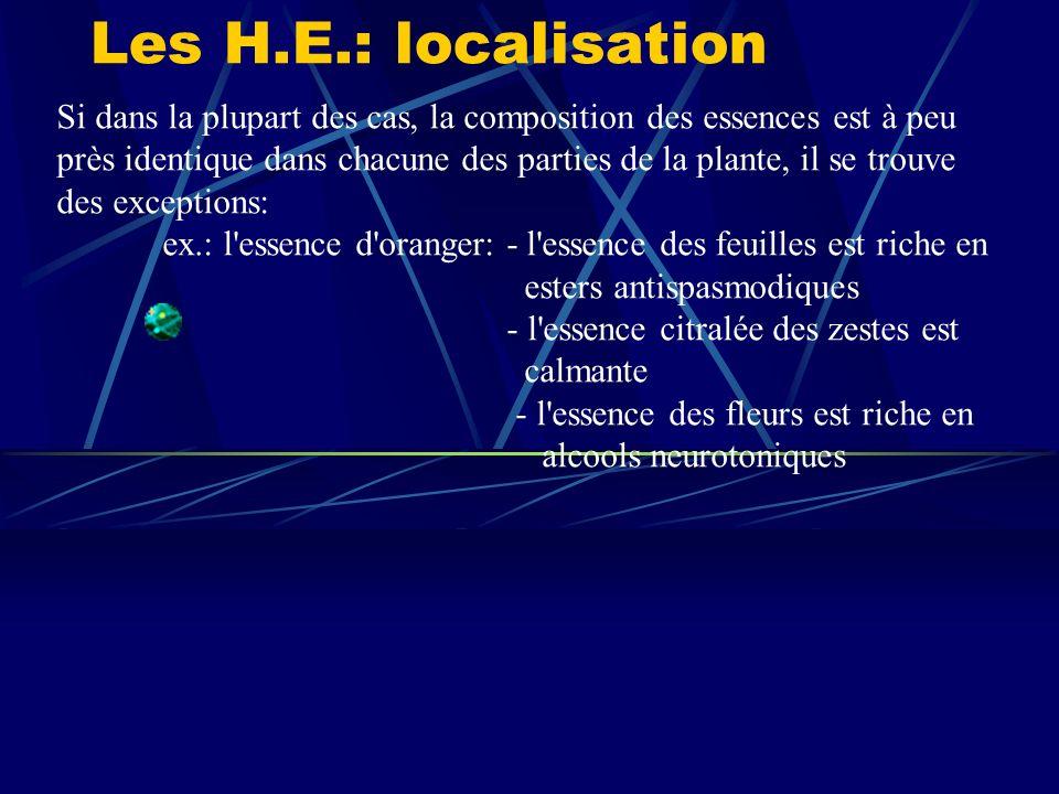 Les H.E.: localisation Si dans la plupart des cas, la composition des essences est à peu près identique dans chacune des parties de la plante, il se trouve des exceptions: ex.: l essence d oranger: - l essence des feuilles est riche en esters antispasmodiques - l essence citralée des zestes est calmante - l essence des fleurs est riche en alcools neurotoniques