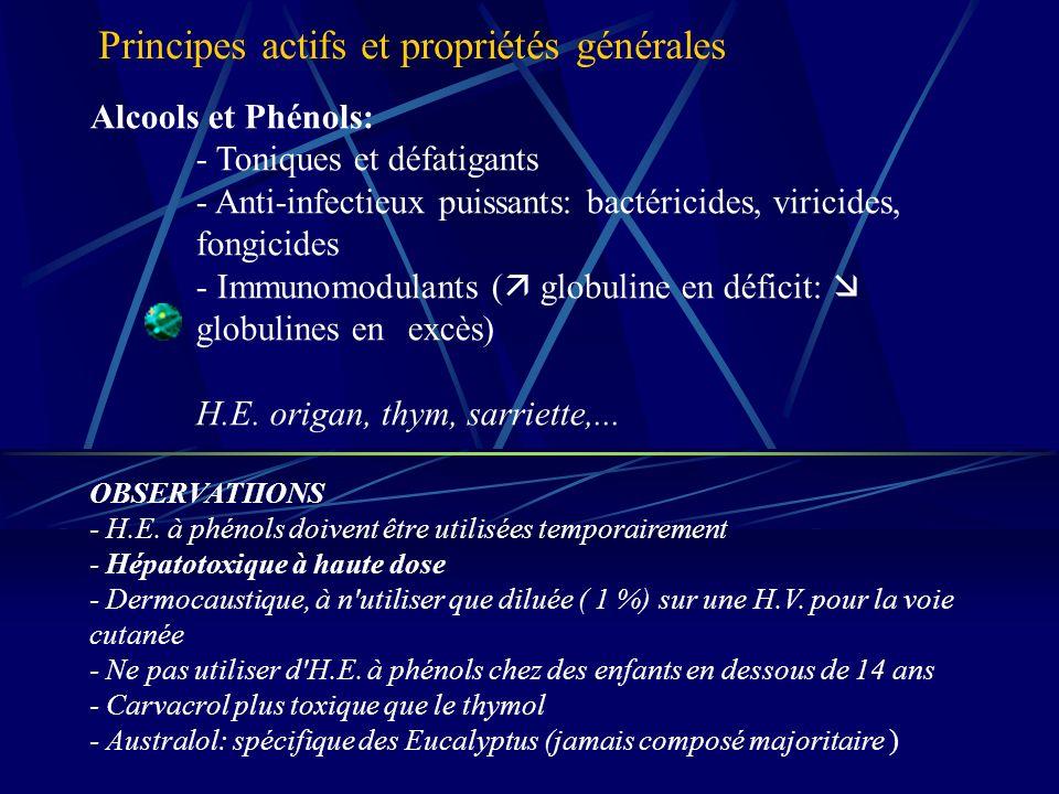 Alcools et Phénols: - Toniques et défatigants - Anti-infectieux puissants: bactéricides, viricides, fongicides - Immunomodulants ( globuline en déficit: globulines en excès) H.E.