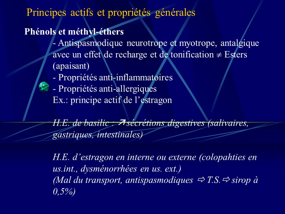 Phénols et méthyl-éthers - Antispasmodique neurotrope et myotrope, antalgique avec un effet de recharge et de tonification Esters (apaisant) - Propriétés anti-inflammatoires - Propriétés anti-allergiques Ex.: principe actif de lestragon H.E.