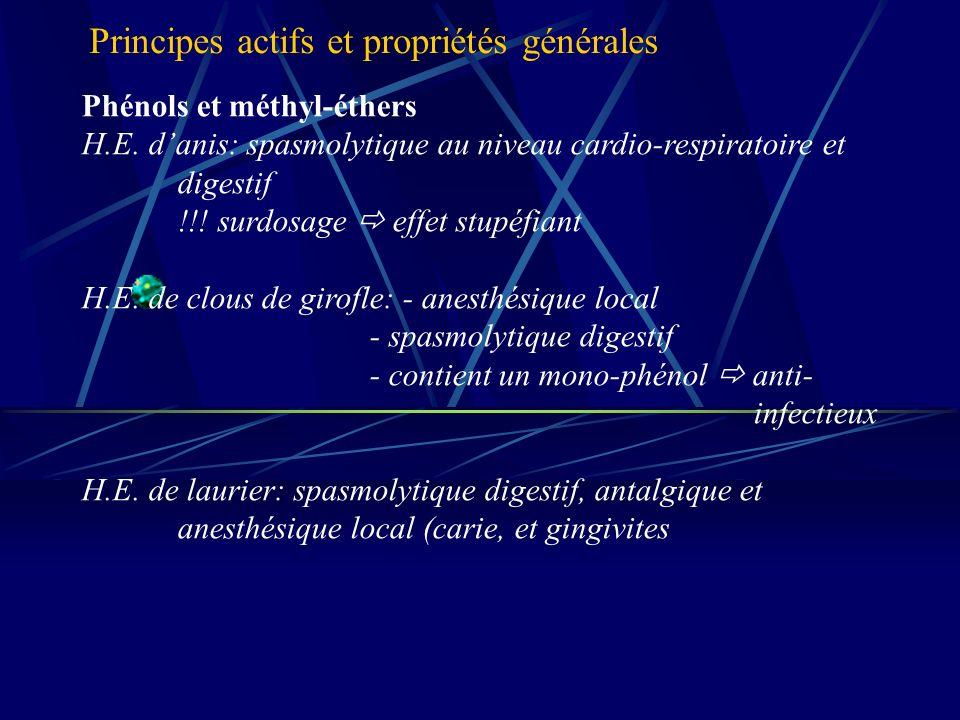 Phénols et méthyl-éthers H.E.danis: spasmolytique au niveau cardio-respiratoire et digestif !!.