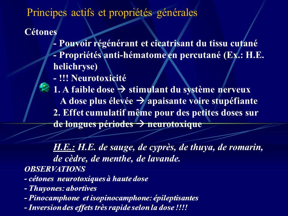 Cétones - Pouvoir régénérant et cicatrisant du tissu cutané - Propriétés anti-hématome en percutané (Ex.: H.E.