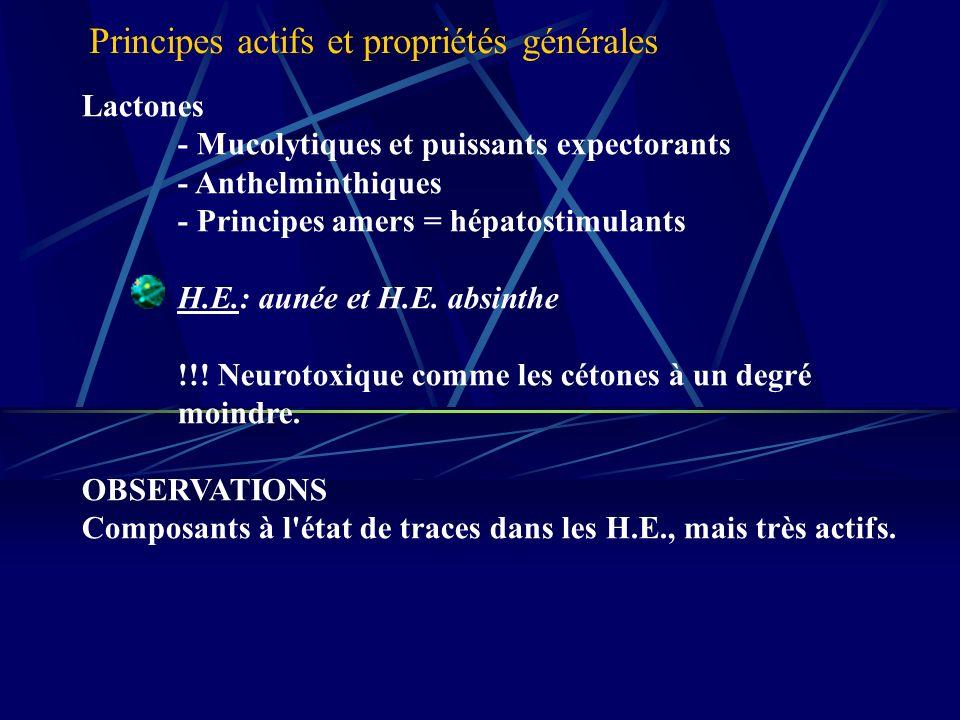 Lactones - Mucolytiques et puissants expectorants - Anthelminthiques - Principes amers = hépatostimulants H.E.: aunée et H.E.