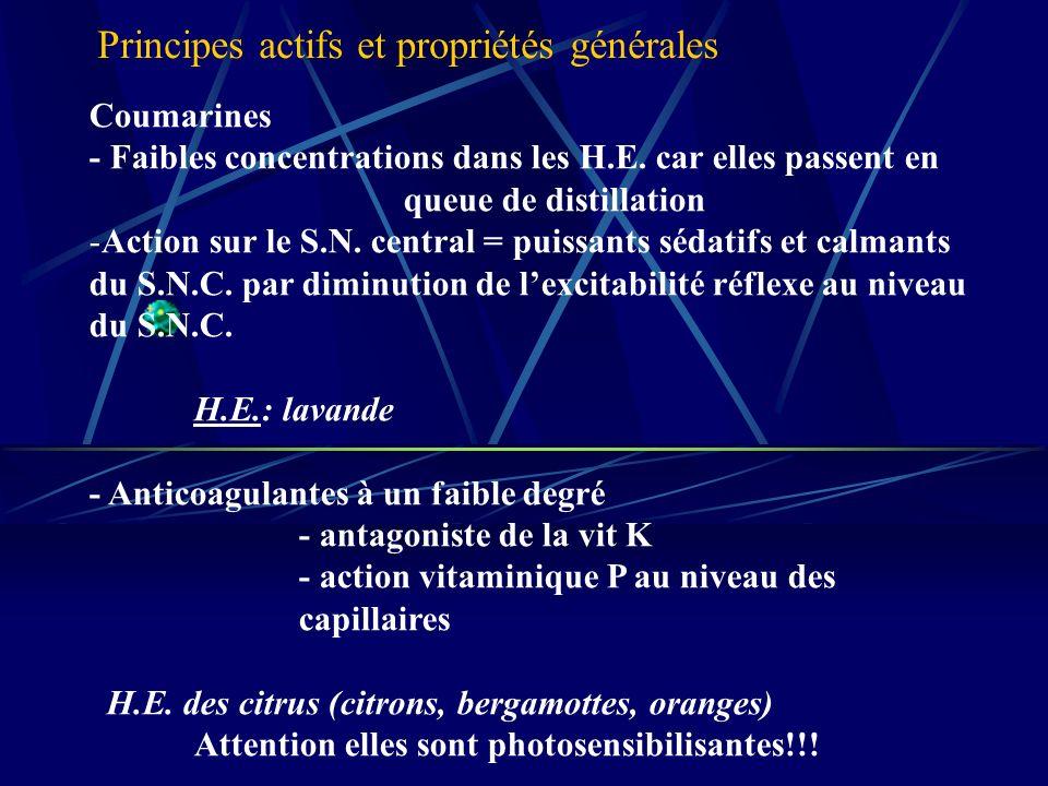 Coumarines - Faibles concentrations dans les H.E.