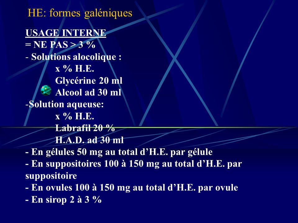 USAGE INTERNE = NE PAS > 3 % - Solutions alocolique : x % H.E.