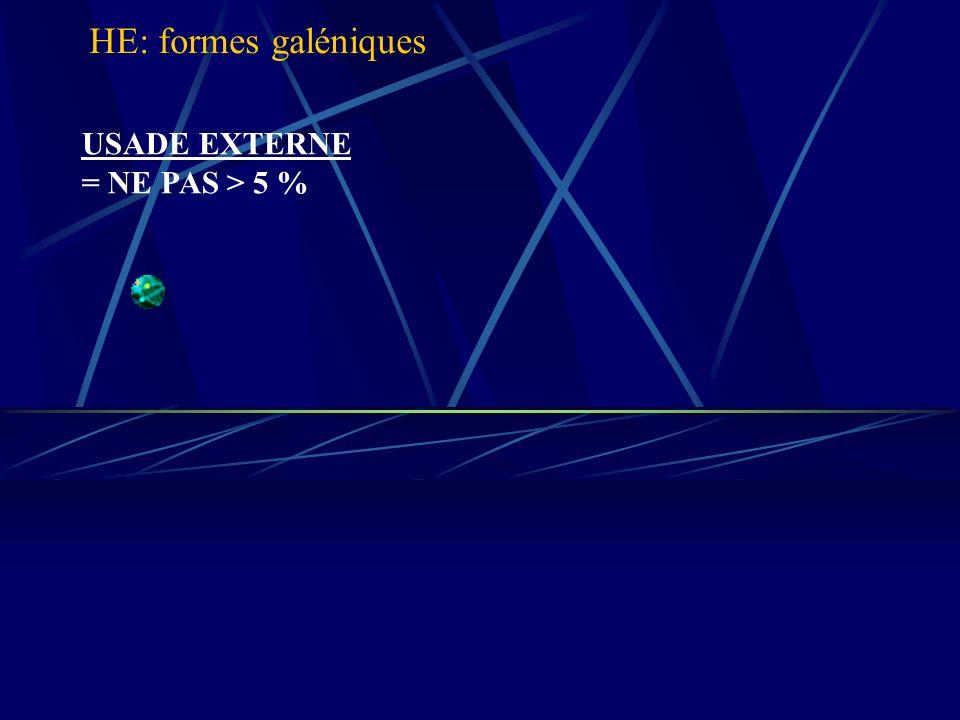 USADE EXTERNE = NE PAS > 5 % HE: formes galéniques