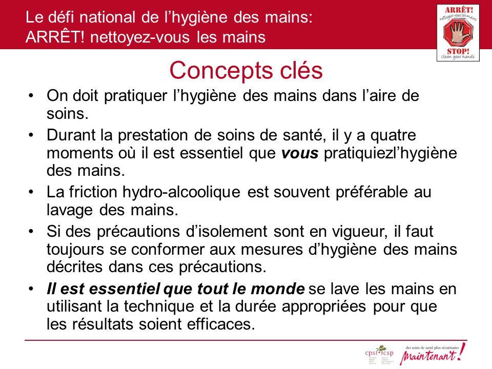 Le défi national de lhygiène des mains: ARRÊT! nettoyez-vous les mains Concepts clés On doit pratiquer lhygiène des mains dans laire de soins. Durant