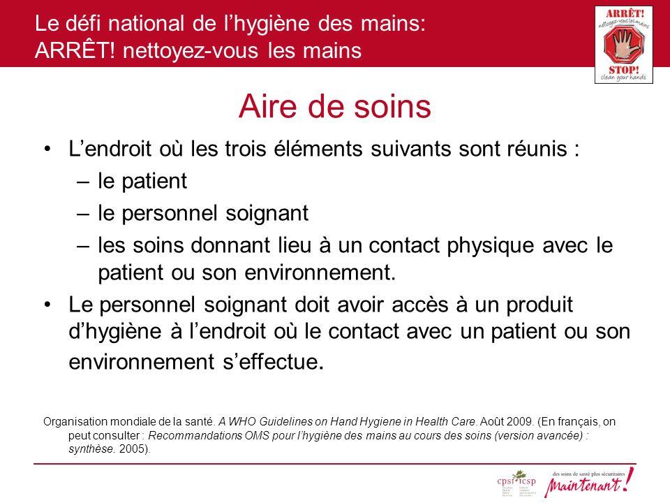Le défi national de lhygiène des mains: ARRÊT! nettoyez-vous les mains Aire de soins Lendroit où les trois éléments suivants sont réunis : –le patient