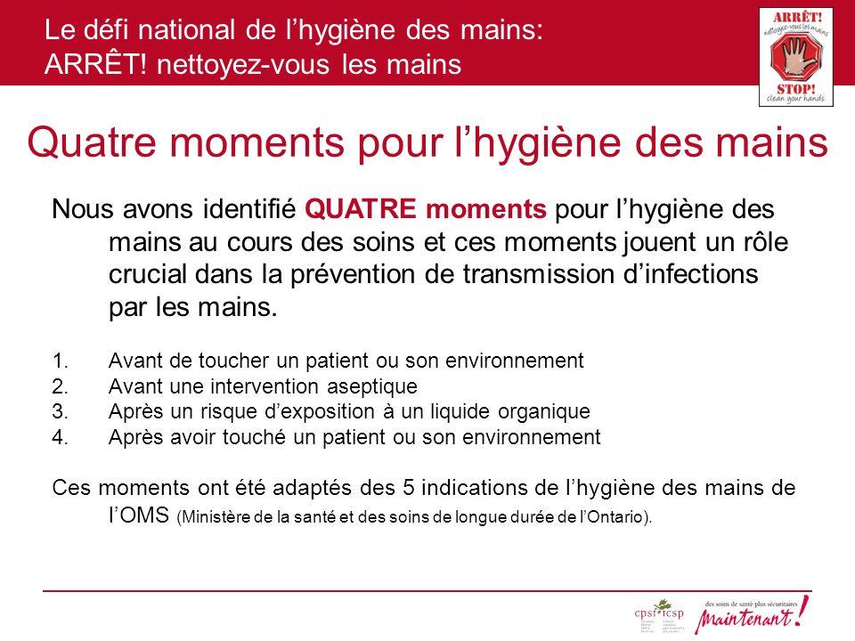 Le défi national de lhygiène des mains: ARRÊT! nettoyez-vous les mains Quatre moments pour lhygiène des mains Nous avons identifié QUATRE moments pour