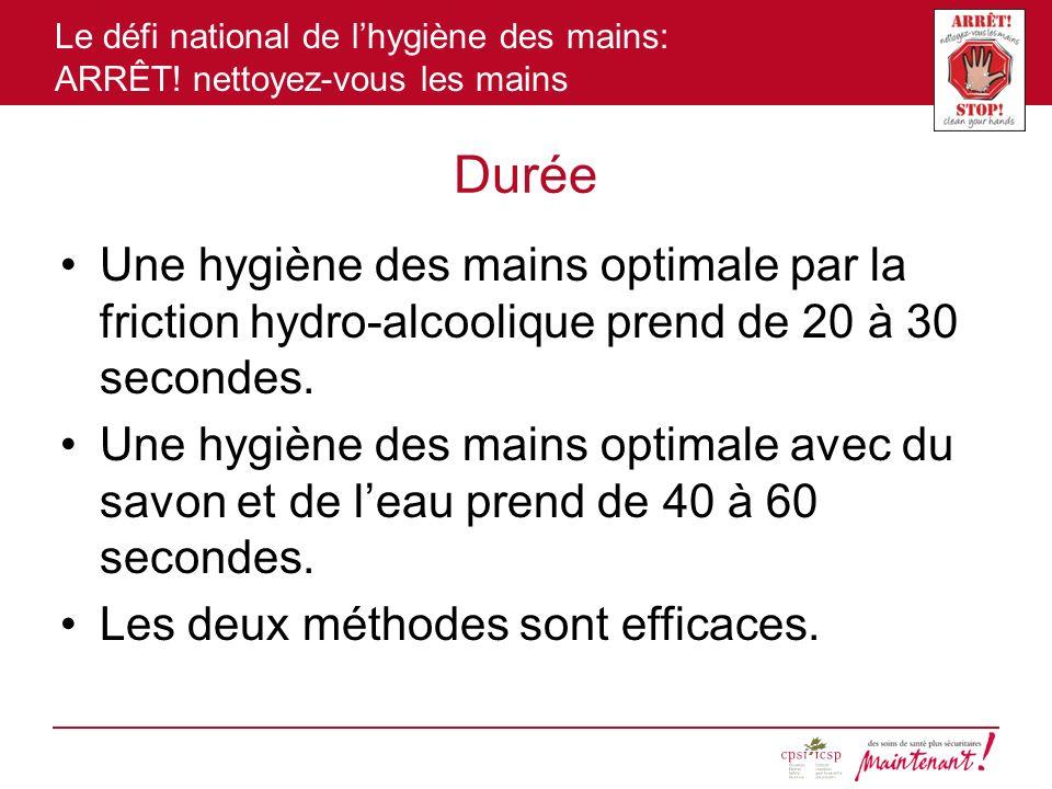 Le défi national de lhygiène des mains: ARRÊT! nettoyez-vous les mains Durée Une hygiène des mains optimale par la friction hydro-alcoolique prend de
