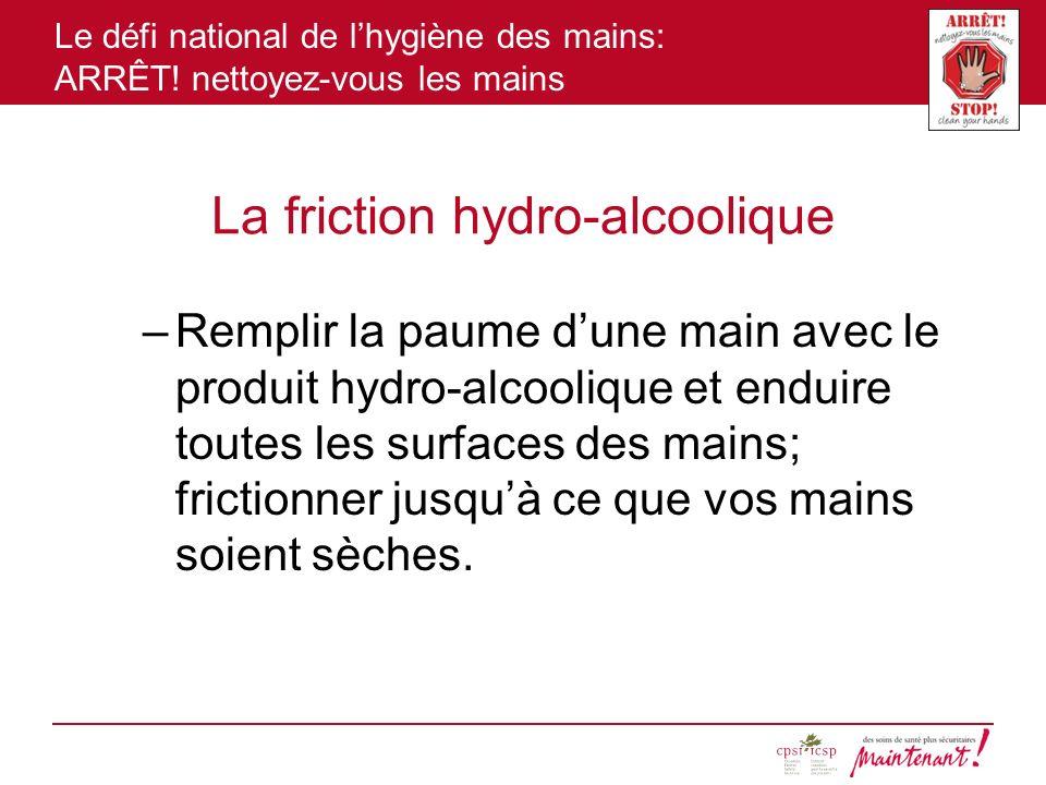 Le défi national de lhygiène des mains: ARRÊT! nettoyez-vous les mains La friction hydro-alcoolique –Remplir la paume dune main avec le produit hydro-
