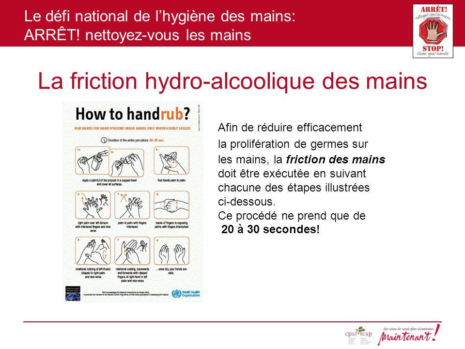 Le défi national de lhygiène des mains: ARRÊT! nettoyez-vous les mains La friction hydro-alcoolique des mains Afin de réduire efficacement la prolifér