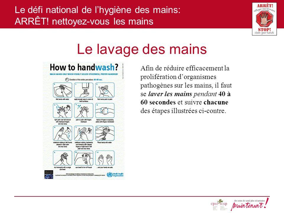 Le défi national de lhygiène des mains: ARRÊT! nettoyez-vous les mains Le lavage des mains Afin de réduire efficacement la prolifération dorganismes p