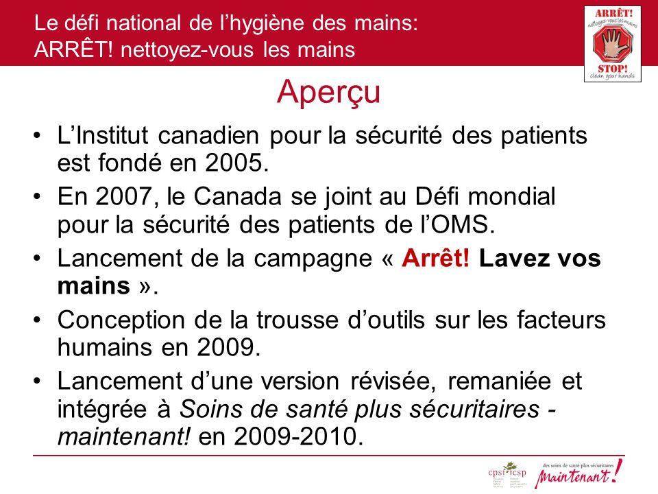 Le défi national de lhygiène des mains: ARRÊT! nettoyez-vous les mains Aperçu LInstitut canadien pour la sécurité des patients est fondé en 2005. En 2