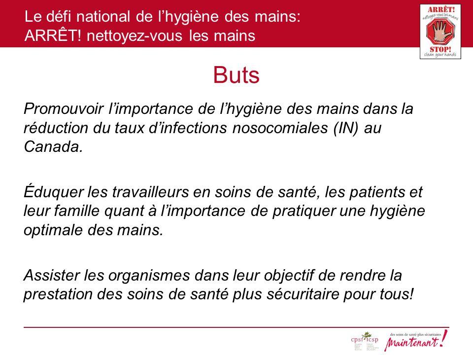 Le défi national de lhygiène des mains: ARRÊT! nettoyez-vous les mains Buts Promouvoir limportance de lhygiène des mains dans la réduction du taux din