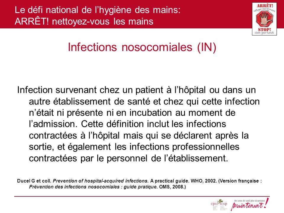 Le défi national de lhygiène des mains: ARRÊT! nettoyez-vous les mains Infections nosocomiales (IN) Infection survenant chez un patient à lhôpital ou
