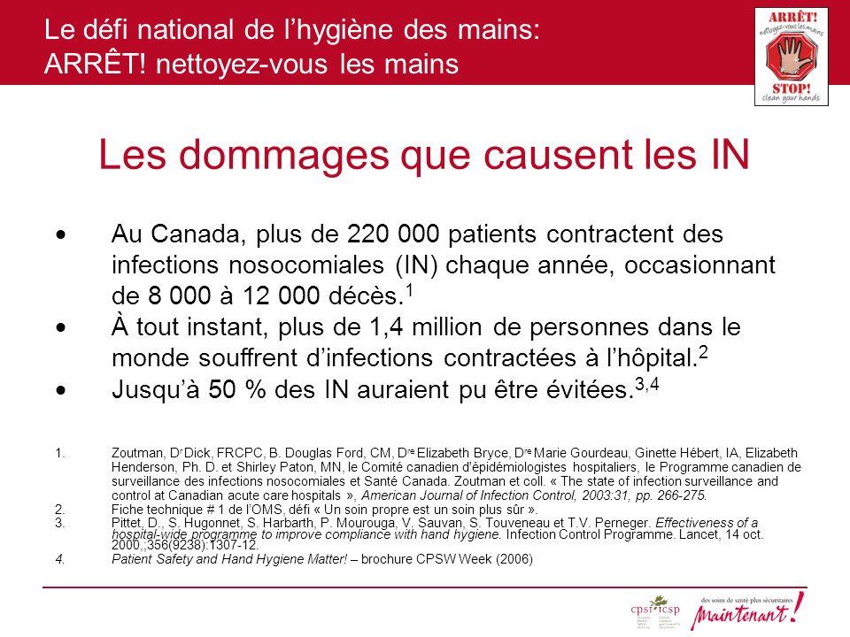 Le défi national de lhygiène des mains: ARRÊT! nettoyez-vous les mains Les dommages que causent les IN Au Canada, plus de 220 000 patients contractent