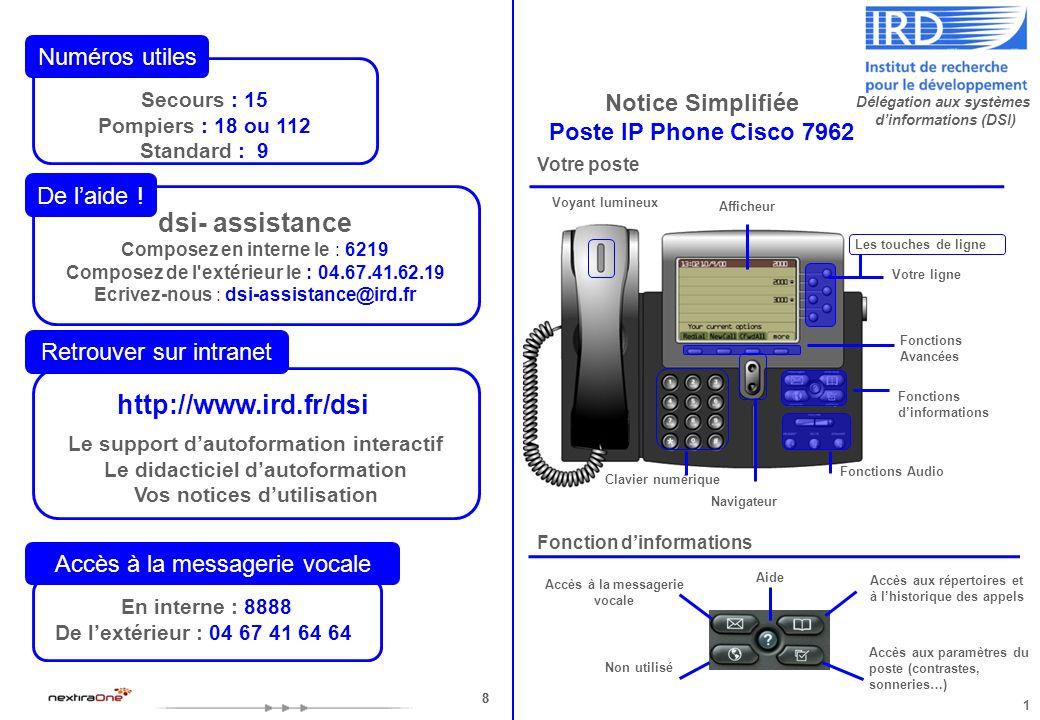 88 Notice Simplifiée Poste IP Phone Cisco 7962 Votre poste Fonctions Audio Fonctions Avancées Clavier numérique Les touches de ligne Fonctions dinform