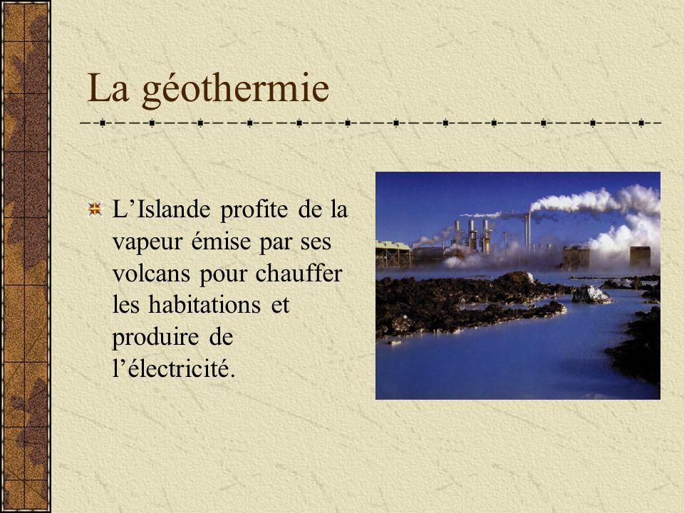 La géothermie LIslande profite de la vapeur émise par ses volcans pour chauffer les habitations et produire de lélectricité.