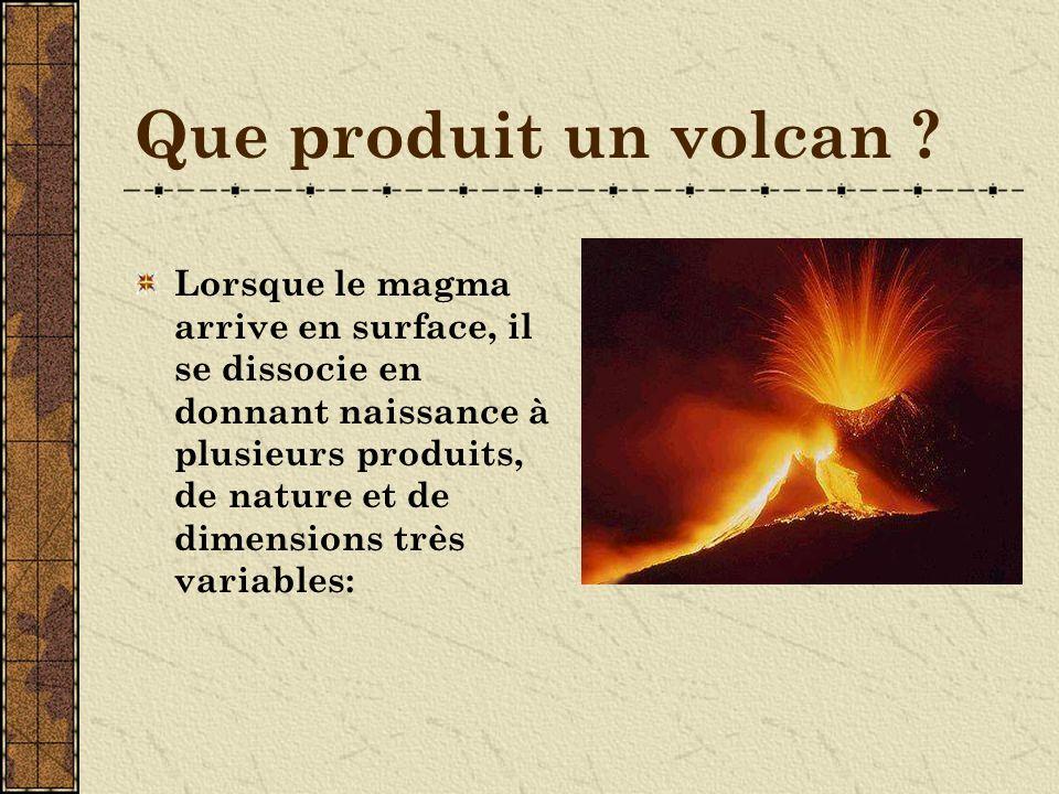 Que produit un volcan .