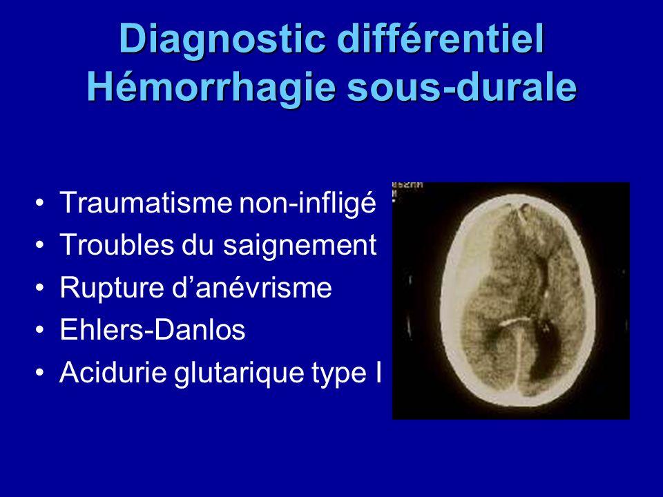 Diagnostic différentiel Hémorrhagie sous-durale Traumatisme non-infligé Troubles du saignement Rupture danévrisme Ehlers-Danlos Acidurie glutarique ty
