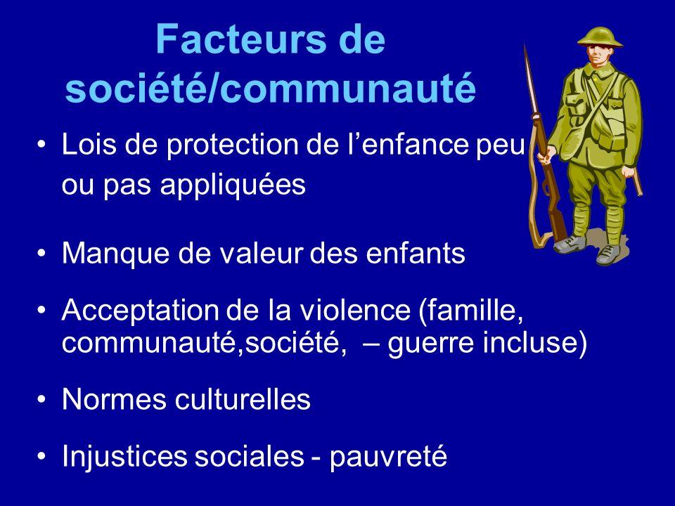 Facteurs de société/communauté Lois de protection de lenfance peu ou pas appliquées Manque de valeur des enfants Acceptation de la violence (famille,