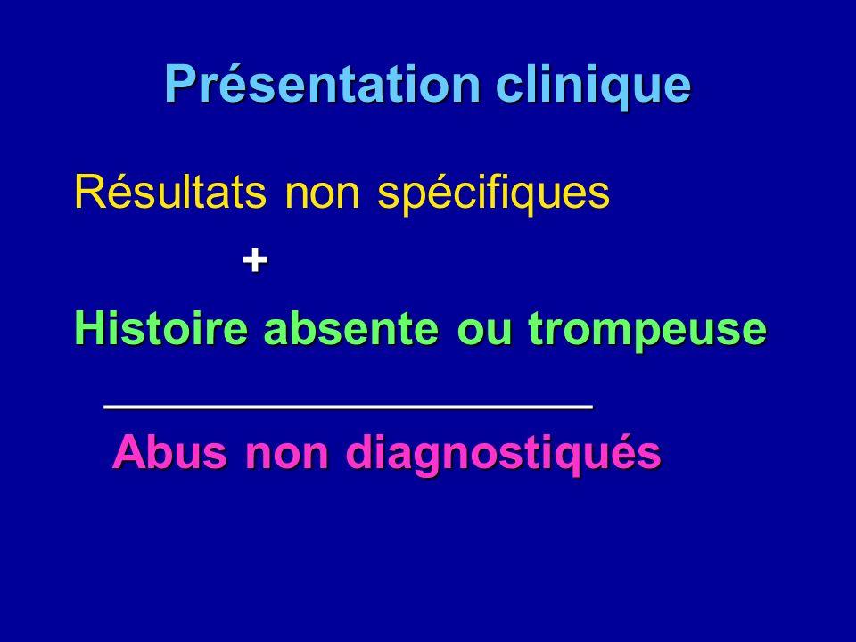 Présentation clinique Résultats non spécifiques + Histoire absente ou trompeuse _______________________ Abus non diagnostiqués Abus non diagnostiqués