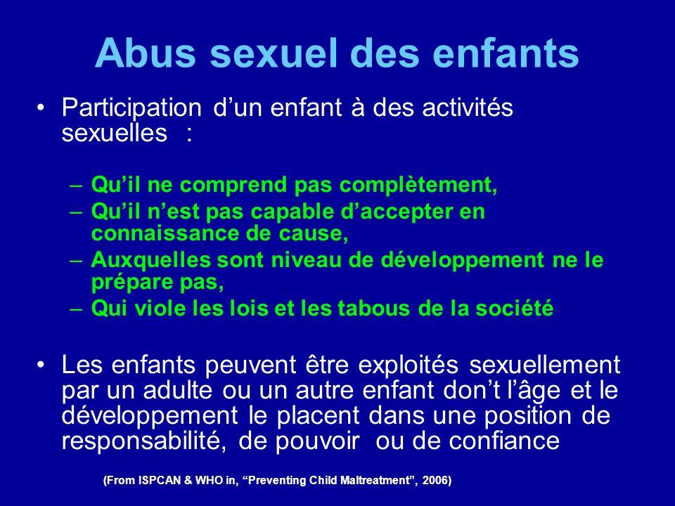Abus sexuel des enfants Participation dun enfant à des activités sexuelles : –Quil ne comprend pas complètement, –Quil nest pas capable daccepter en c