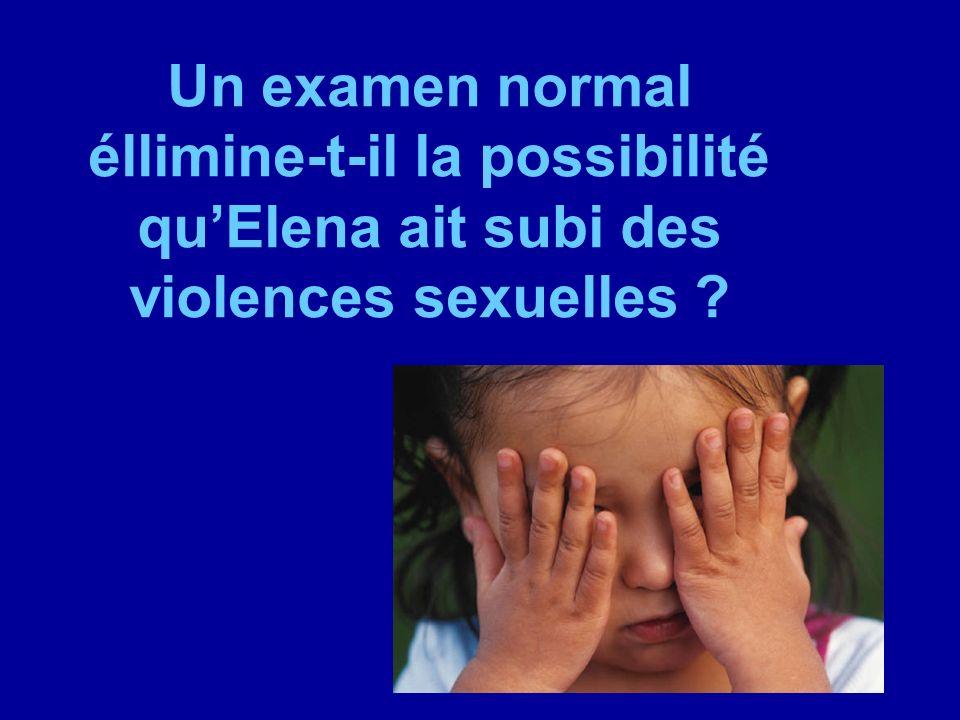 Un examen normal éllimine-t-il la possibilité quElena ait subi des violences sexuelles ?