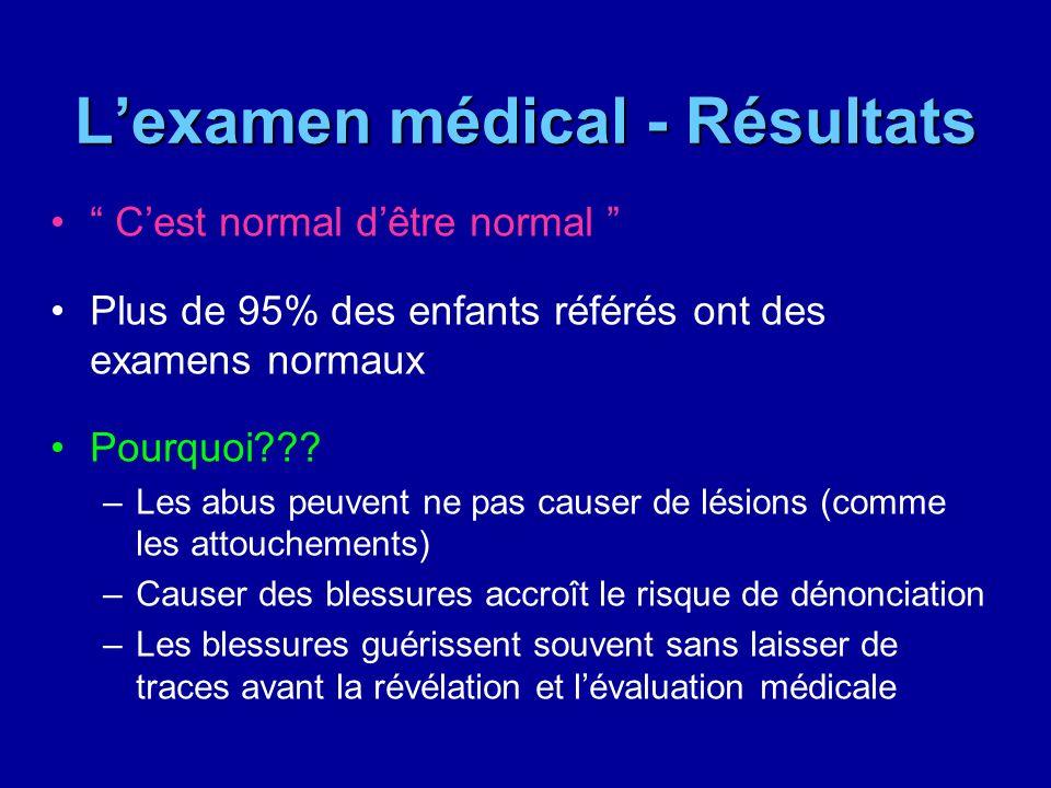 Lexamen médical - Résultats Cest normal dêtre normal Plus de 95% des enfants référés ont des examens normaux Pourquoi??? –Les abus peuvent ne pas caus