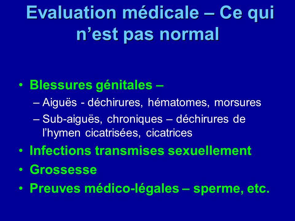 Evaluation médicale – Ce qui nest pas normal Evaluation médicale – Ce qui nest pas normal Blessures génitales – –Aiguës - déchirures, hématomes, morsu