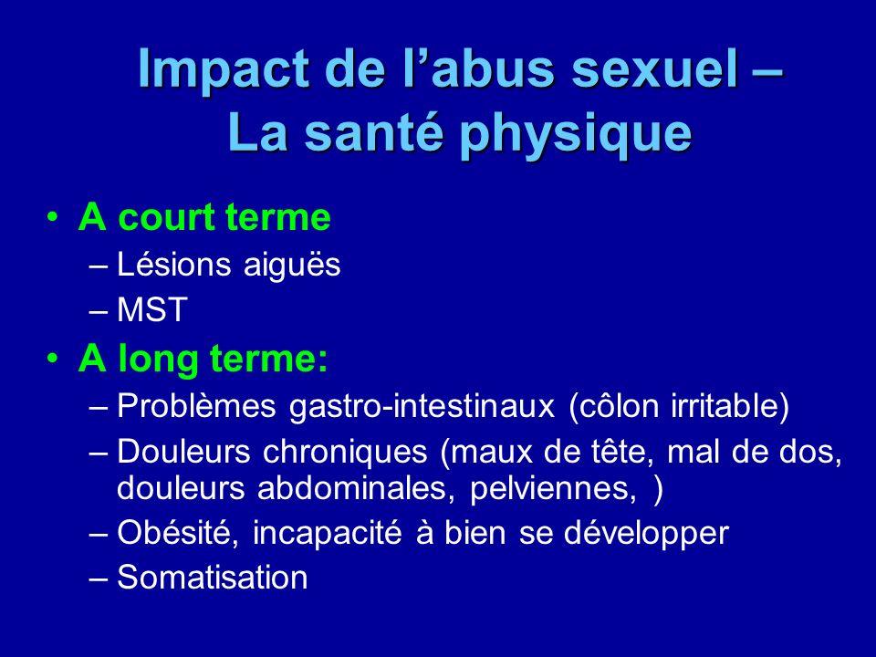 Impact de labus sexuel – La santé physique A court terme –Lésions aiguës –MST A long terme: –Problèmes gastro-intestinaux (côlon irritable) –Douleurs