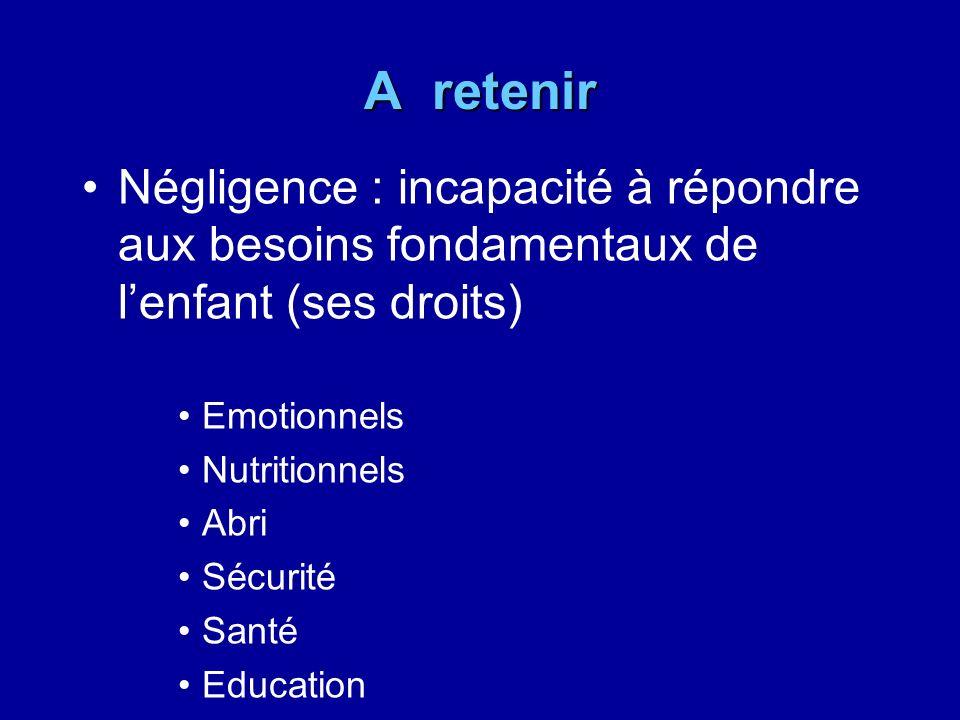 A retenir Négligence : incapacité à répondre aux besoins fondamentaux de lenfant (ses droits) Emotionnels Nutritionnels Abri Sécurité Santé Education