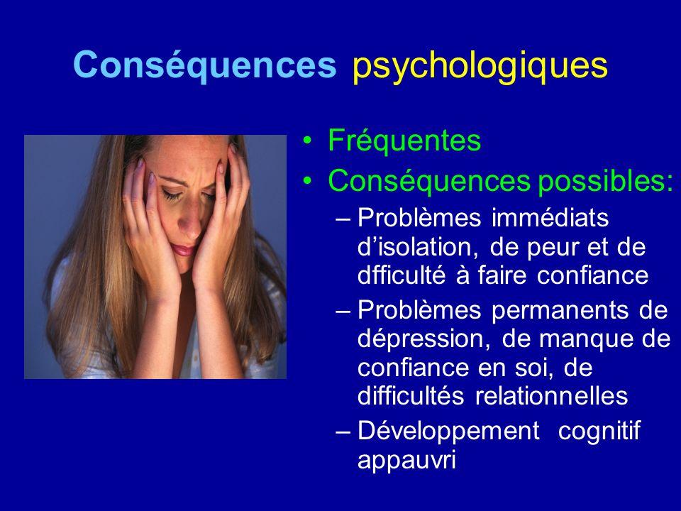 Conséquences psychologiques Fréquentes Conséquences possibles: –Problèmes immédiats disolation, de peur et de dfficulté à faire confiance –Problèmes p