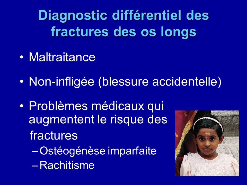 Diagnostic différentiel des fractures des os longs Maltraitance Non-infligée (blessure accidentelle) Problèmes médicaux qui augmentent le risque des f