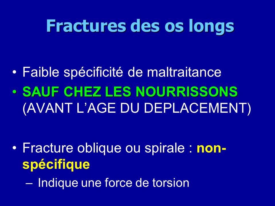 Fractures des os longs Fractures des os longs Faible spécificité de maltraitance SAUF CHEZ LES NOURRISSONSSAUF CHEZ LES NOURRISSONS (AVANT LAGE DU DEP