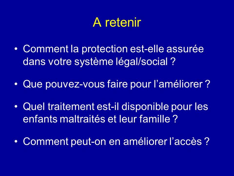 A retenir Comment la protection est-elle assurée dans votre système légal/social ? Que pouvez-vous faire pour laméliorer ? Quel traitement est-il disp