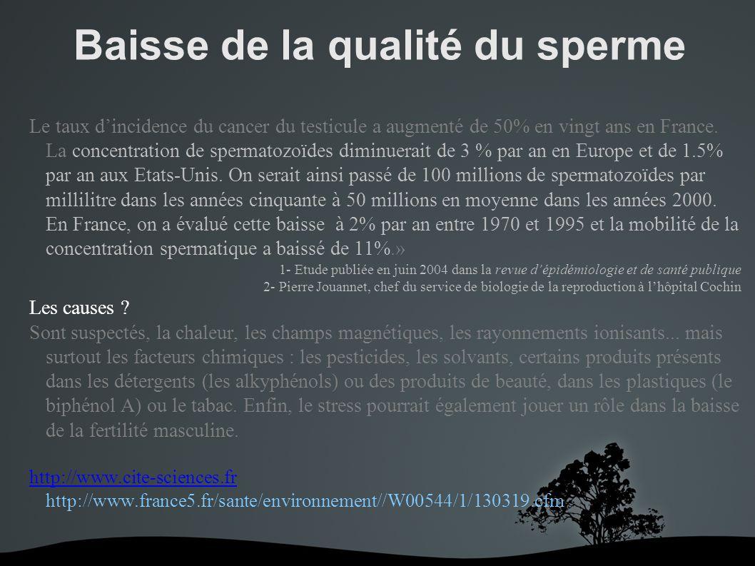 Baisse de la qualité du sperme Le taux dincidence du cancer du testicule a augmenté de 50% en vingt ans en France.