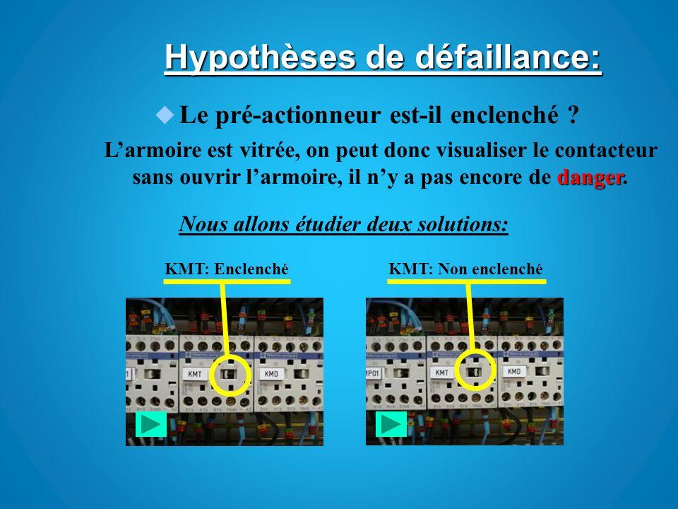 Hypothèses de défaillance: KMT étant Enclenché nous pouvons donc éliminer de nos hypothèses la partie commande et la chaîne dacquisition.