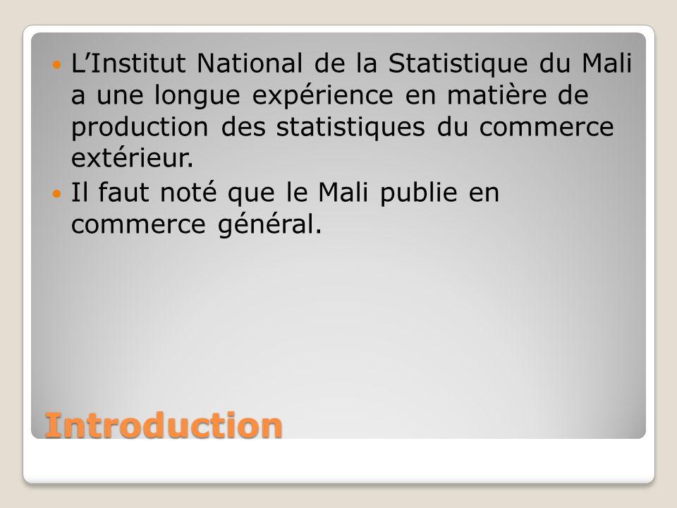 Introduction LInstitut National de la Statistique du Mali a une longue expérience en matière de production des statistiques du commerce extérieur.