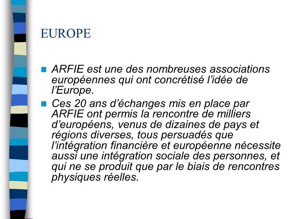EUROPE ARFIE est une des nombreuses associations européennes qui ont concrétisé lidée de lEurope.