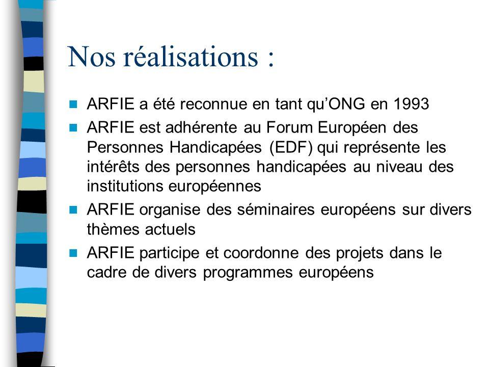 Nos réalisations : ARFIE a été reconnue en tant quONG en 1993 ARFIE est adhérente au Forum Européen des Personnes Handicapées (EDF) qui représente les intérêts des personnes handicapées au niveau des institutions européennes ARFIE organise des séminaires européens sur divers thèmes actuels ARFIE participe et coordonne des projets dans le cadre de divers programmes européens