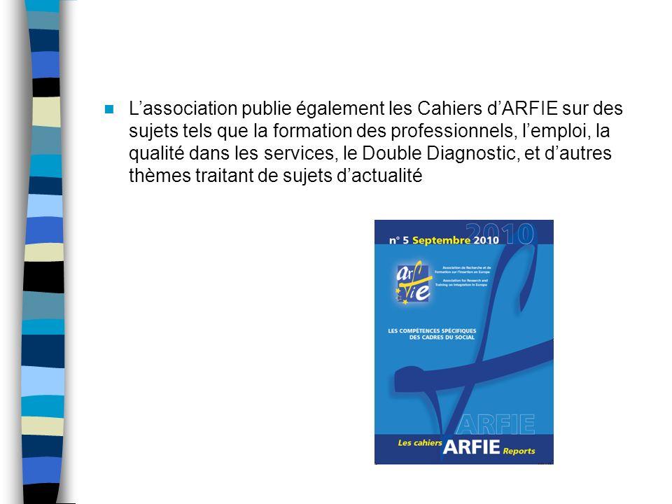 Lassociation publie également les Cahiers dARFIE sur des sujets tels que la formation des professionnels, lemploi, la qualité dans les services, le Double Diagnostic, et dautres thèmes traitant de sujets dactualité