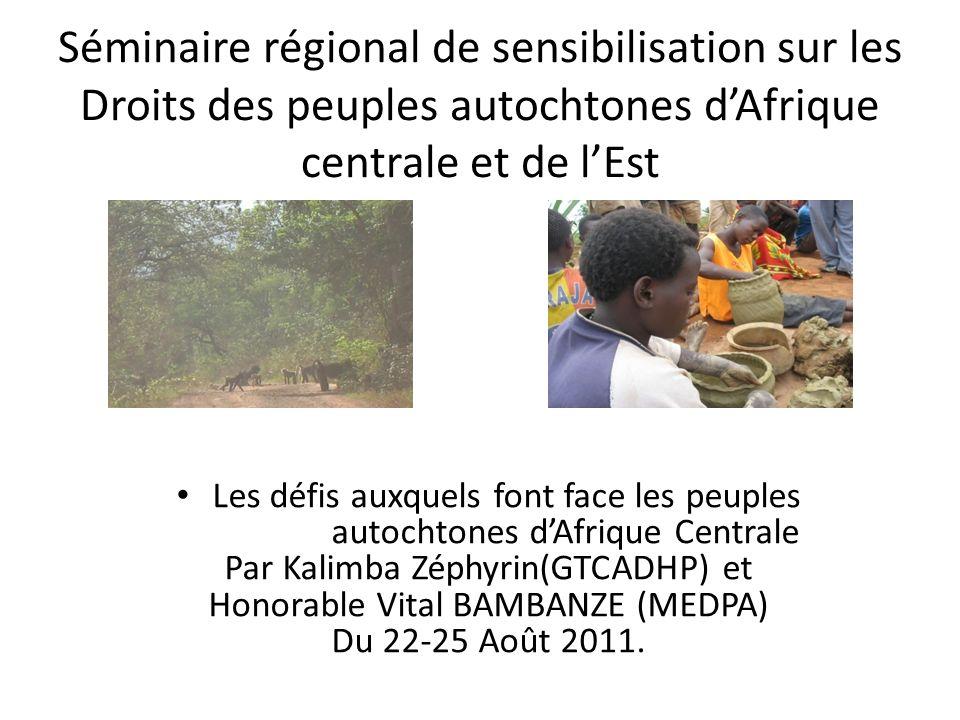 Séminaire régional de sensibilisation sur les Droits des peuples autochtones dAfrique centrale et de lEst Les défis auxquels font face les peuples autochtones dAfrique Centrale Par Kalimba Zéphyrin(GTCADHP) et Honorable Vital BAMBANZE (MEDPA) Du 22-25 Août 2011.