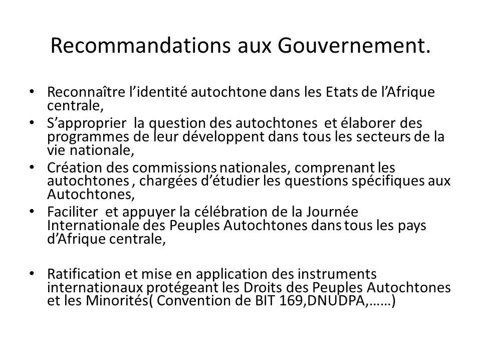 Recommandations aux Gouvernement.