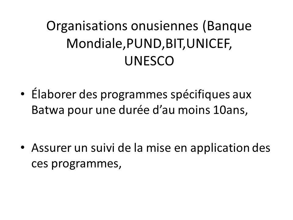 Organisations onusiennes (Banque Mondiale,PUND,BIT,UNICEF, UNESCO Élaborer des programmes spécifiques aux Batwa pour une durée dau moins 10ans, Assurer un suivi de la mise en application des ces programmes,