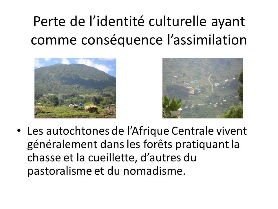 Perte de lidentité culturelle ayant comme conséquence lassimilation Les autochtones de lAfrique Centrale vivent généralement dans les forêts pratiquant la chasse et la cueillette, dautres du pastoralisme et du nomadisme.