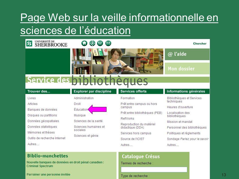 13 Page Web sur la veille informationnelle en sciences de léducation