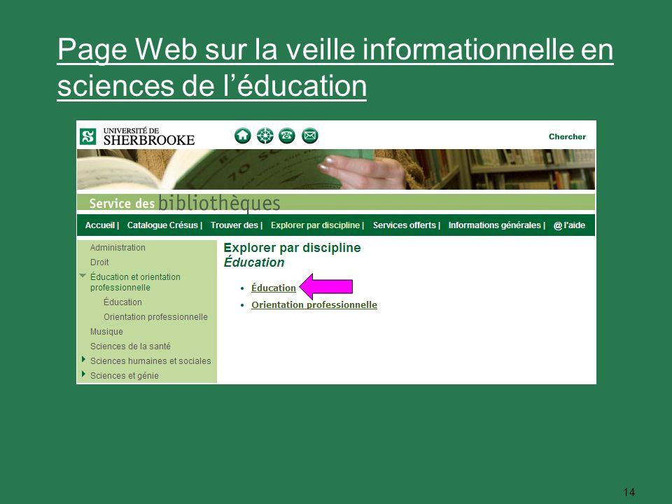 14 Page Web sur la veille informationnelle en sciences de léducation